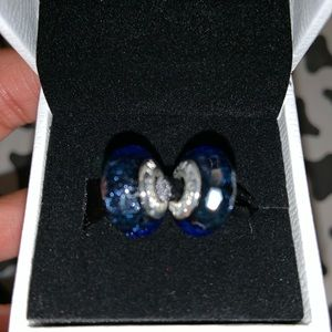 Blue Iridescence Murano Charms